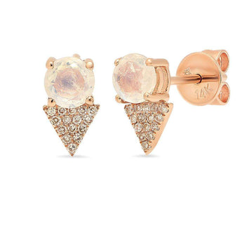 Rainbow Moonstone Diamond Triangle Studs | Harrisons Collection