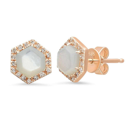 Mother of Pearl and Diamond Studs | Harrisons Collection