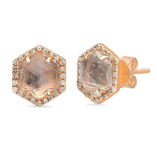 Moonstone Hexagon Studs | Harrisons Collection
