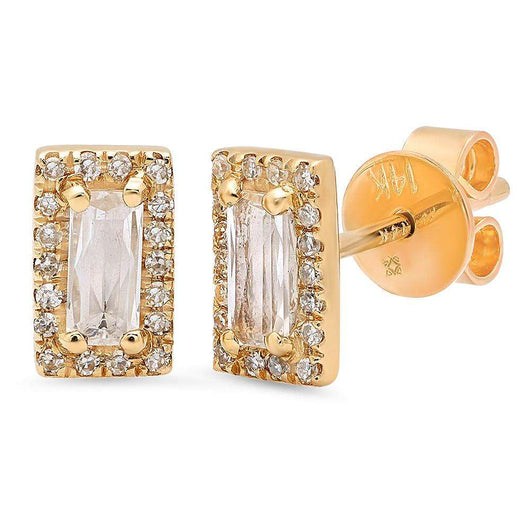 Rectangle White Topaz Studs | Harrisons Collection