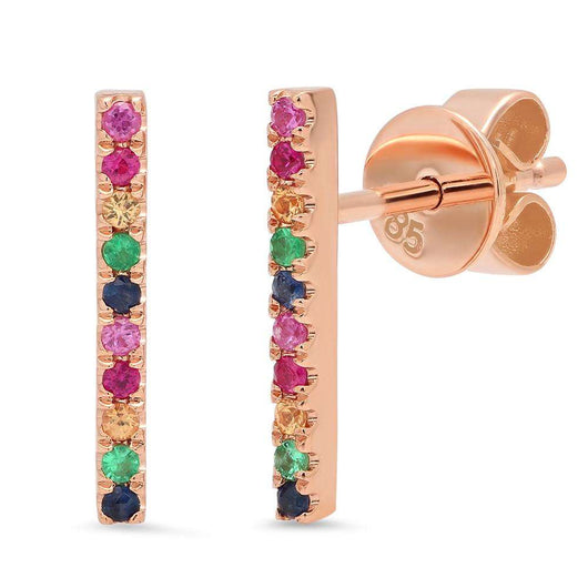 Long Multi Stone Bar Stud Earring | Harrisons Collection