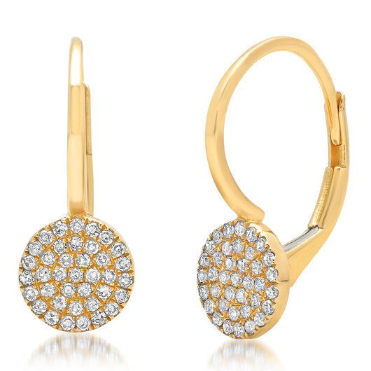 Pave Disk Drop Earrings | Harrisons Collection