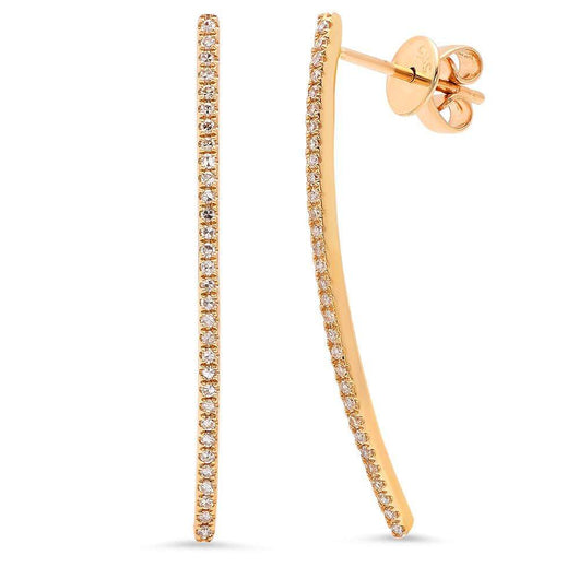 Curved Diamond Bar Earrings | Harrisons Collection