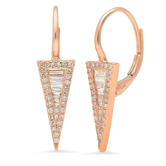 Diamond Baguette Triangle Drop Earrings | Harrisons Collection