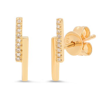 Double Bar Stud Earring | Harrisons Collection