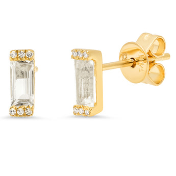 Diamond and White Topaz Brick Studs | Harrisons Collection