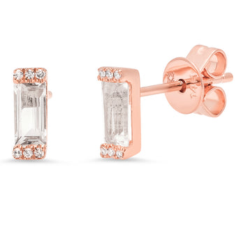 Diamond and White Topaz Bricks Studs | Harrisons Collection