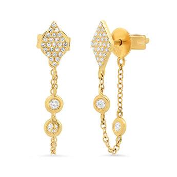 Diamond Stud and Chain Earrings | Harrisons Collection