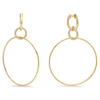 Single Diamond Circle Hoop Earrings | Harrisons Collection