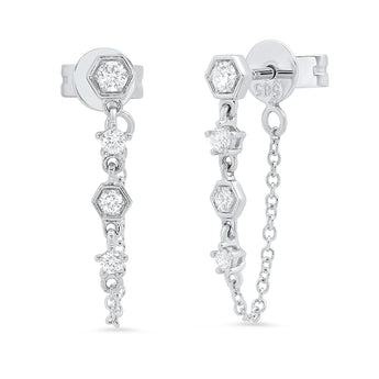 Diamond Station Chain Earrings | Harrisons Collection
