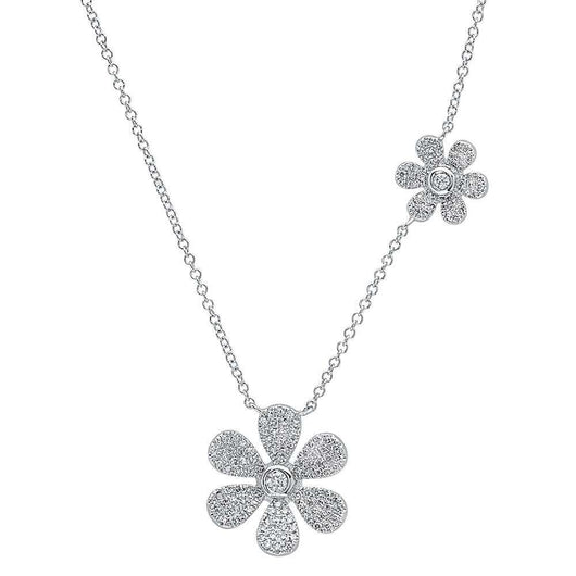 Double Flower Diamond Necklace | Harrisons Collection
