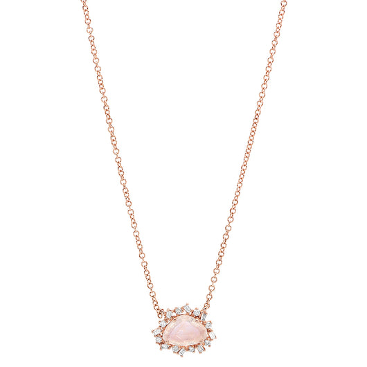 Rainbow Moonstone Baguette Diamond Necklace | Harrisons Collection