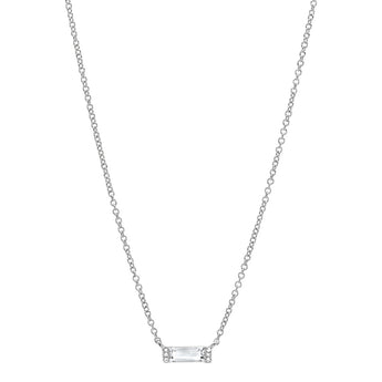 Diamond and White Topaz Brick Necklace | Harrisons Collection