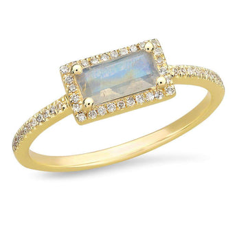 Rainbow Moonstone Rectangle Ring | Harrisons Collection