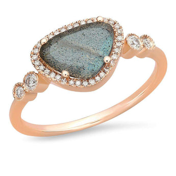 Labradorite and Diamond Bezel Ring | Harrisons Collection