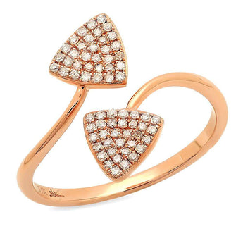 Double Diamond Curved Triangle Ring | Harrisons Collection
