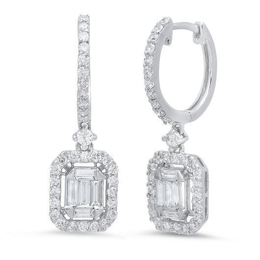 Diamond Baguette Illusion Earrings | Harrisons Collection