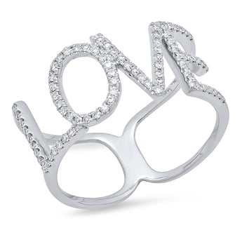 14K White Gold Diamond LOVE Ring | Harrisons Collection
