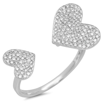 Double Diamond Heart Ring | Harrisons Collection