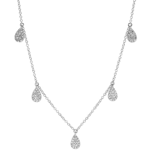 Pave Diamond Hanging Pear Necklace | Harrisons Collection