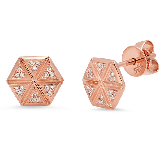 Diamond Hexagon Studs | Harrisons Collection