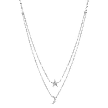 Diamond Layered Star and Moon Necklace | Harrisons Collection