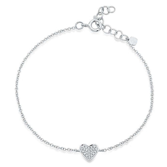 Pave Diamond Heart Chain Bracelet | Harrisons Collection