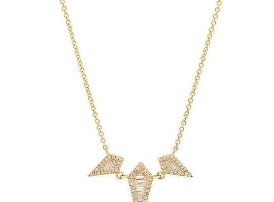Triple Diamond Baguette Spear Necklace | Harrisons Collection