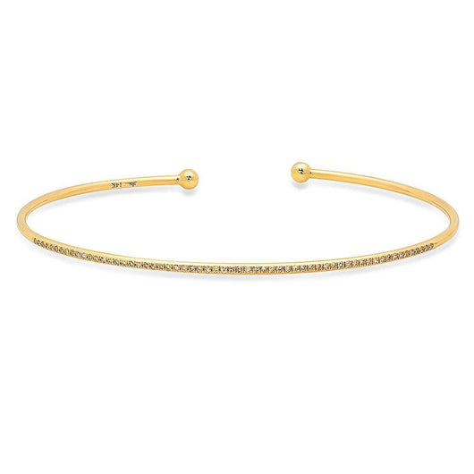 Thin Yellow Gold Diamond Bangle | Harrisons Collection