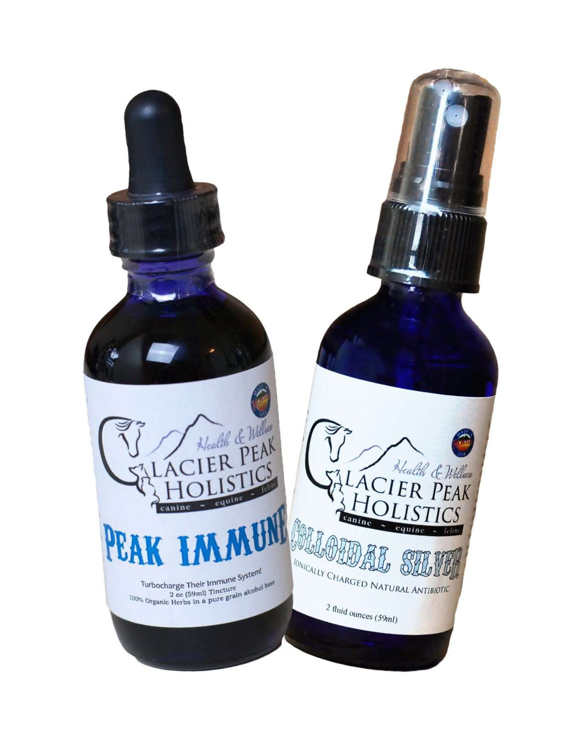 Colloidal Silver 2 oz spray & Peak Immune 2 oz Tincture