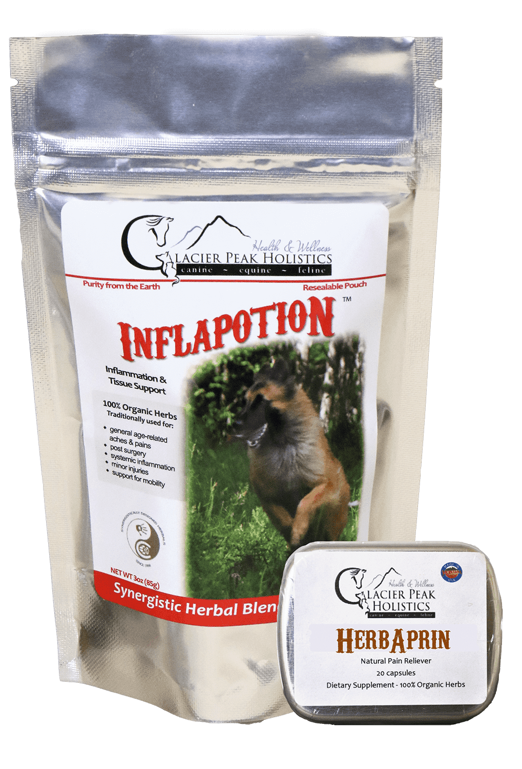 Inflapotion 3oz Dog & HerbAprin 20 cap Combo