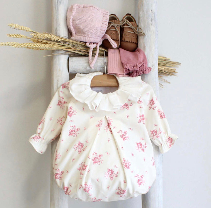 Rosie cream and pink romper