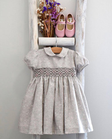 Grace embroidered grey dress