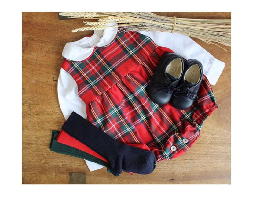 Tartan romper and shirt set