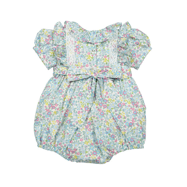 Poplin floral romper with lace
