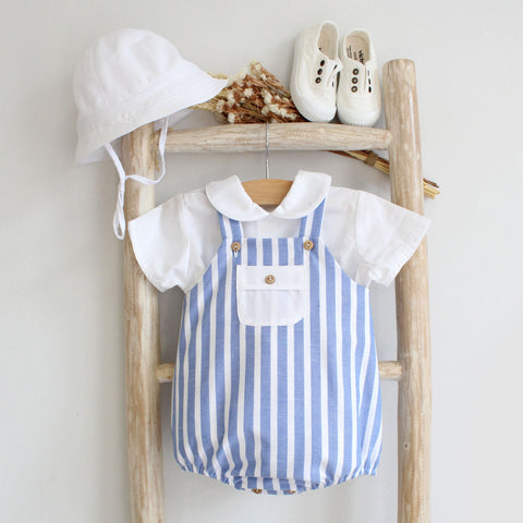 Oliver romper in blue stripes