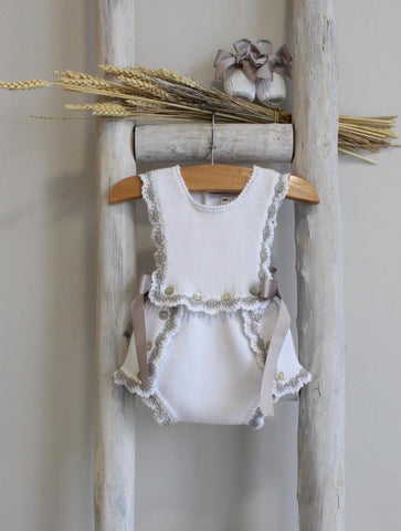 White and Grey knitted romper
