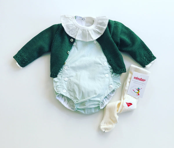 Baby frill dots romper in green