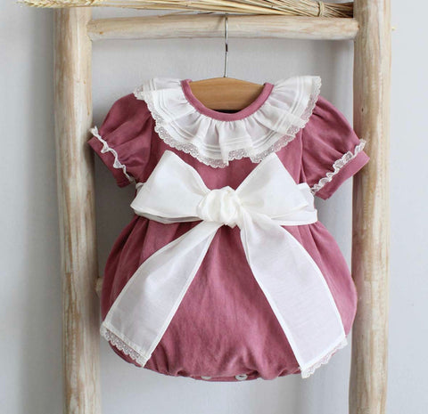 Sienna pink raspberry romper with bow