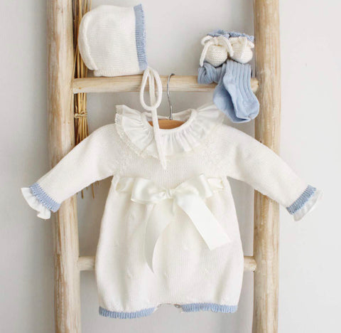 Cream and blue romper