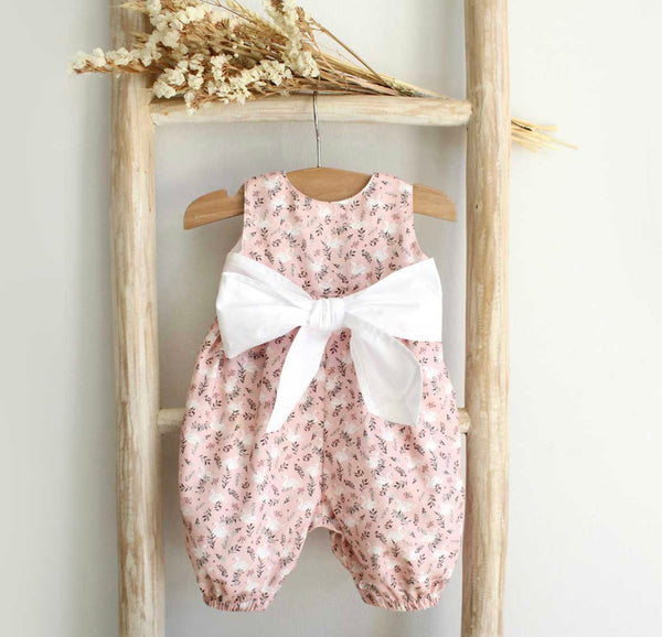 Bow floral and swans overalls pink
