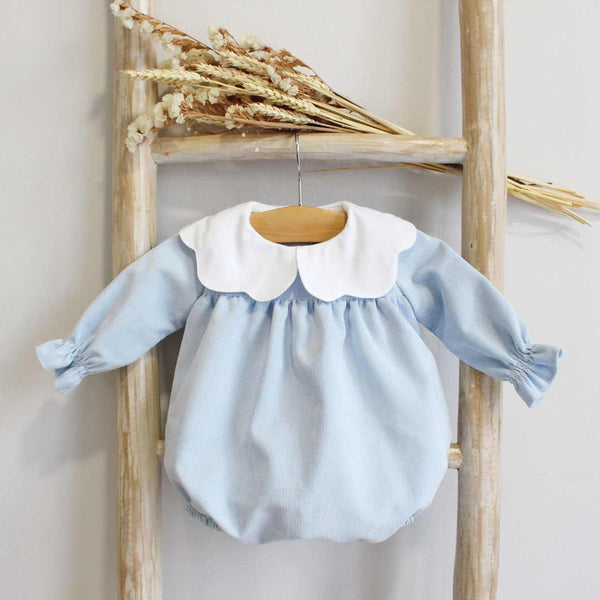 Rompers in corduroy (pink, blue, ivory)