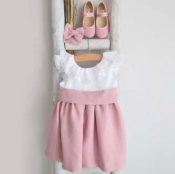 Anna dress in dusty pink and white