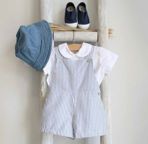 Oliver linen stripes blue shortall