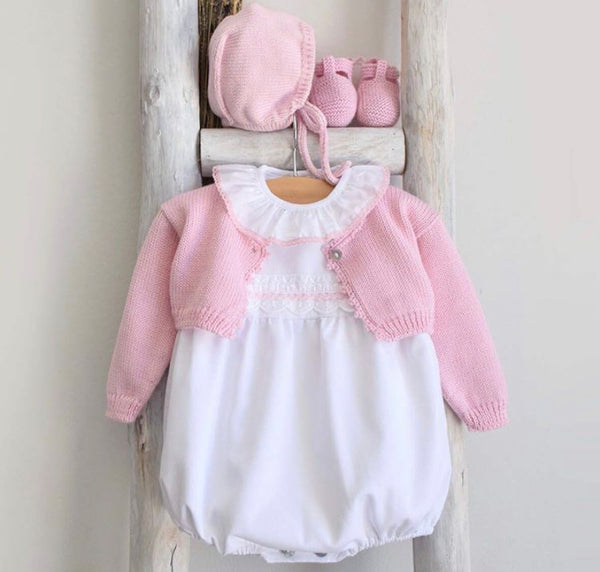 Baby romper in white and pink