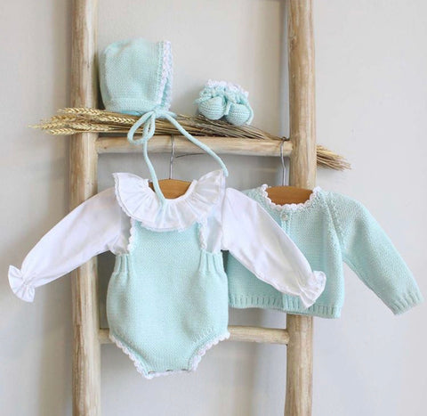 Organic cotton mint romper