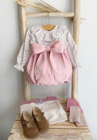 Sienna flower romper with bow