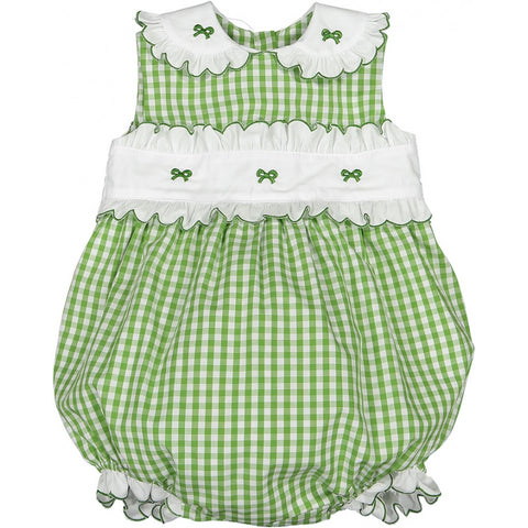 Grass embroidered bow romper