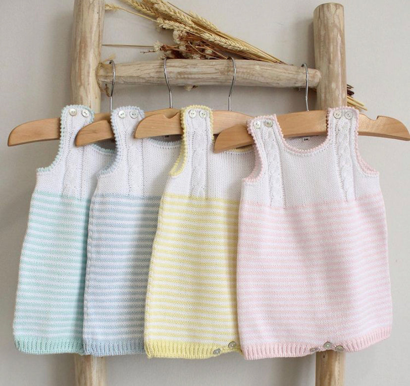 Cotton cable and stripes rompers