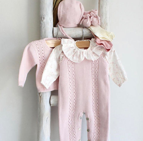 Knitted overall in pink